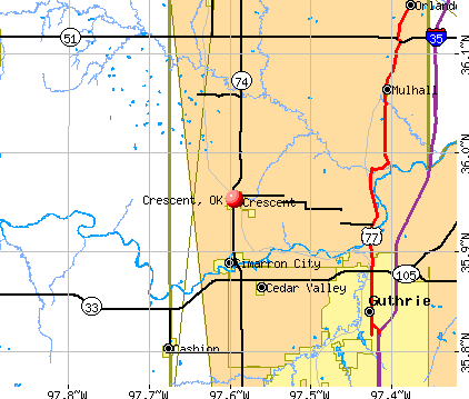 Crescent, OK map
