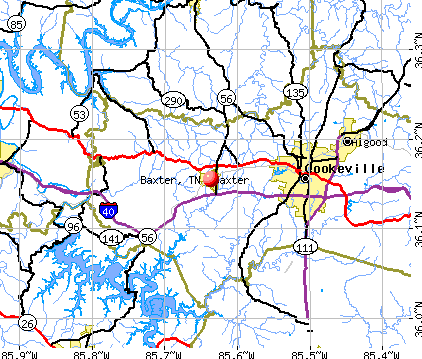 Baxter, TN map