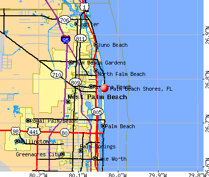 Palm Beach Shores, FL map