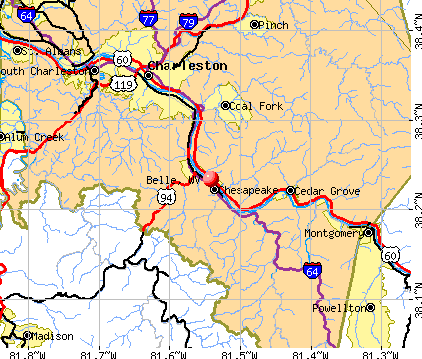 Belle, WV map