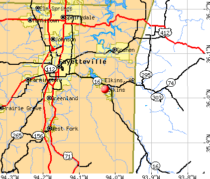 Elkins, AR map