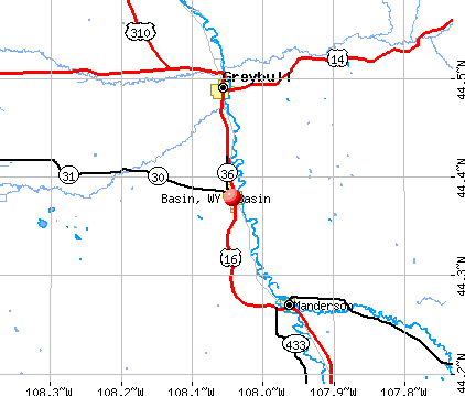 Basin, WY map