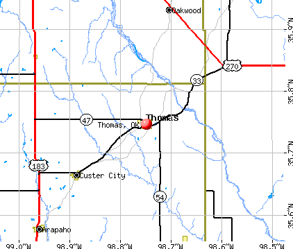 Thomas, OK map
