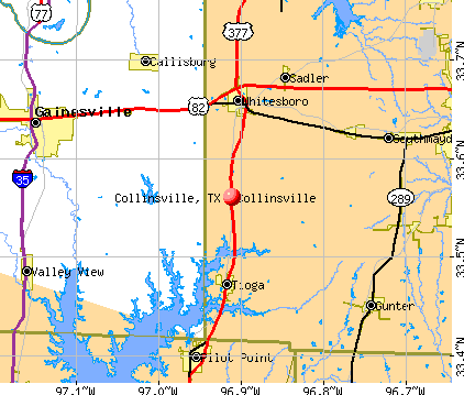 Collinsville, TX map