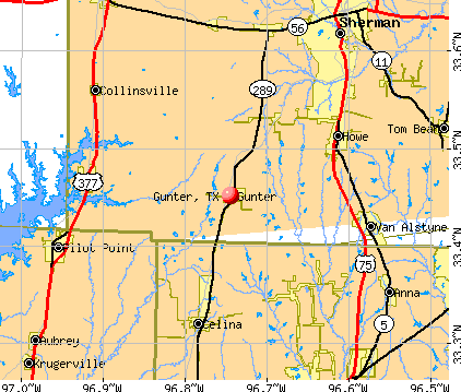 Gunter, TX map
