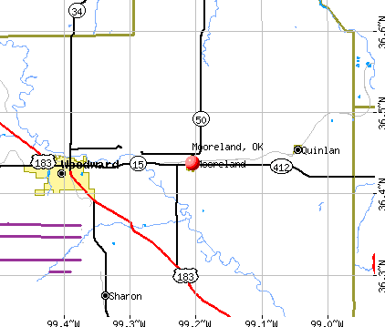 Mooreland, OK map