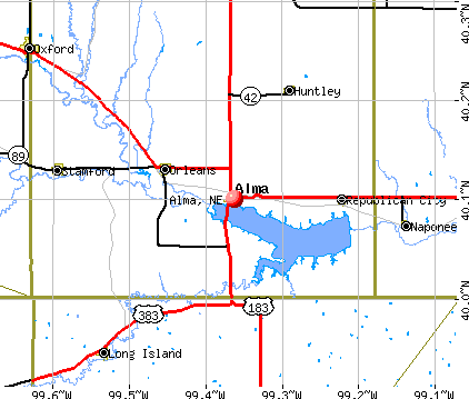 Alma, NE map