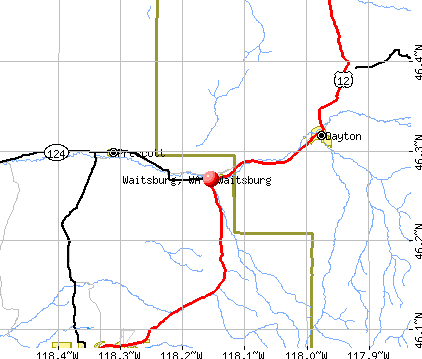 Waitsburg, WA map