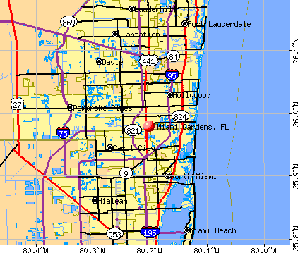 Miami Gardens, FL map