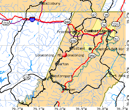 Lonaconing, MD map