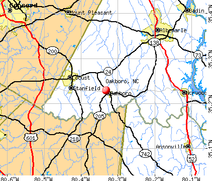 Oakboro, NC map