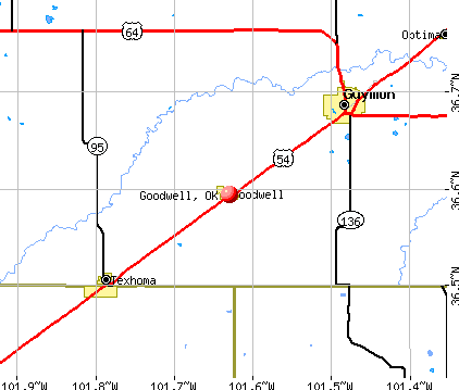 Goodwell, OK map