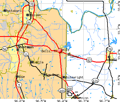 Bells, TX map
