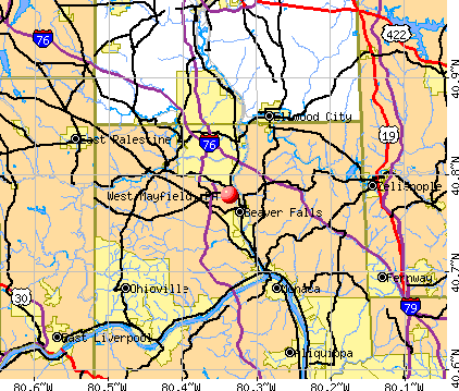 West Mayfield, PA map
