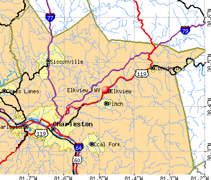Elkview, WV map