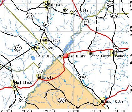 Fair Bluff, NC map