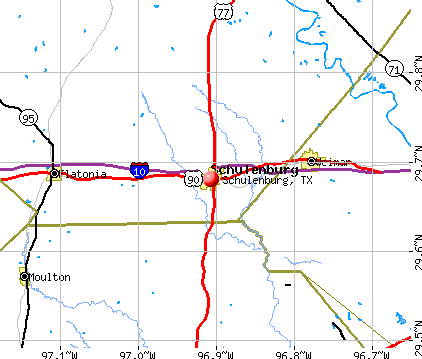 Schulenburg, TX map