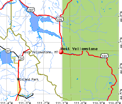 West Yellowstone, MT map