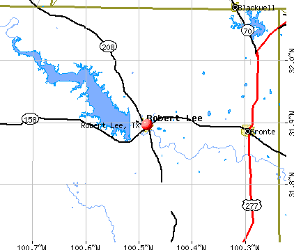 Robert Lee, TX map