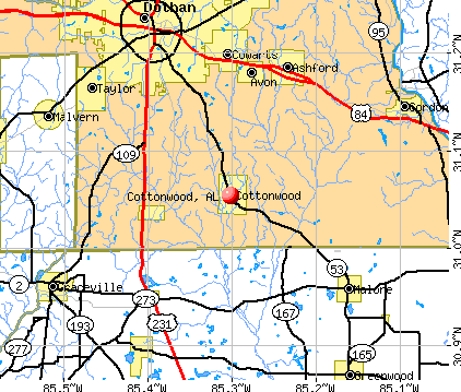 Cottonwood, AL map