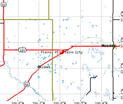 Plains, KS map