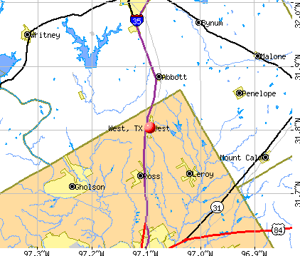 West, TX map