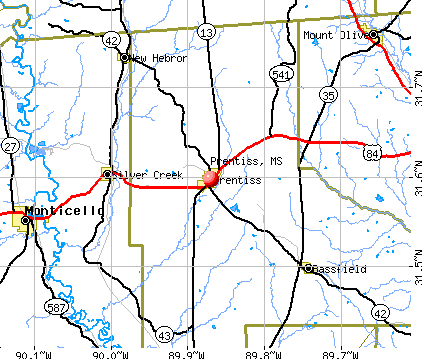 Prentiss, MS map