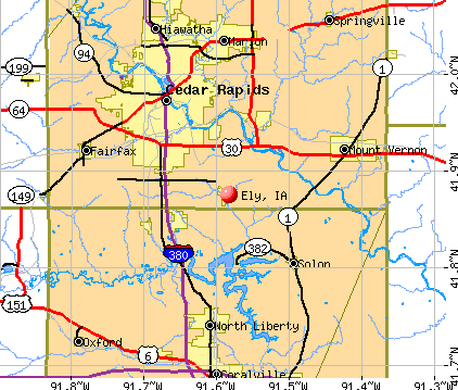 Ely, IA map