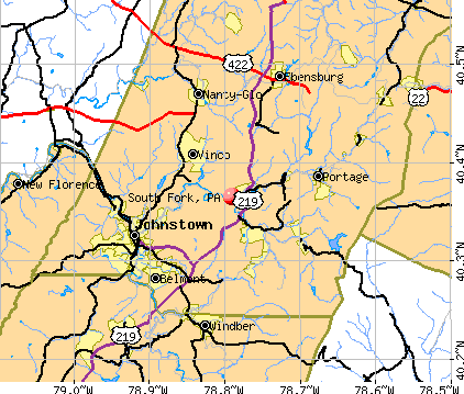 South Fork, PA map