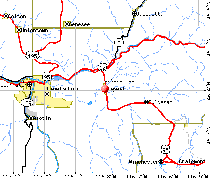 Lapwai, ID map