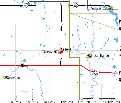 Tioga, ND map