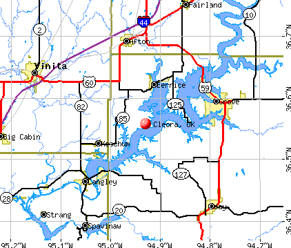 Cleora, OK map