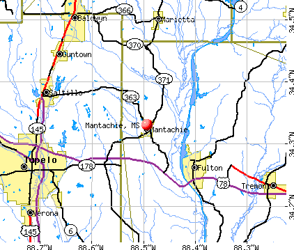 Mantachie, MS map