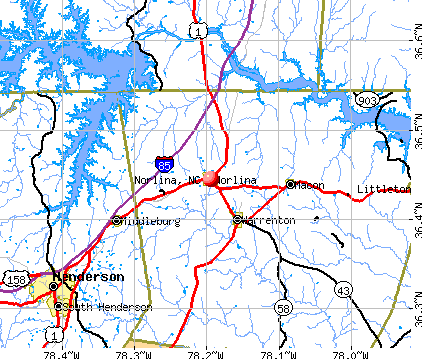 Norlina, NC map