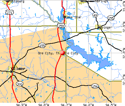 Ore City, TX map