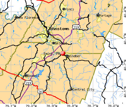 Paint, PA map