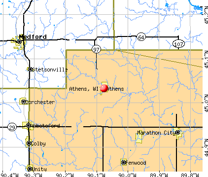 Athens, WI map