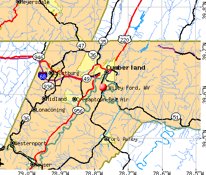 Wiley Ford, WV map