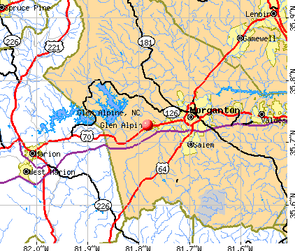 Glen Alpine, NC map