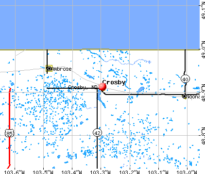 Crosby, ND map