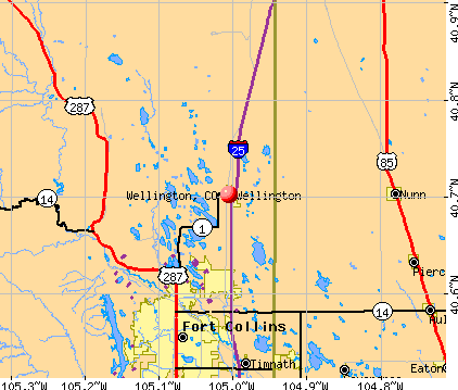 Wellington, CO map