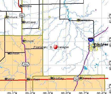 Flanagan, IL map