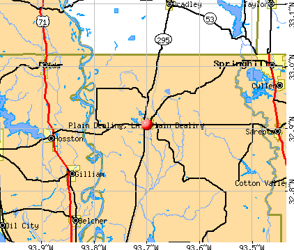 Plain Dealing, LA map