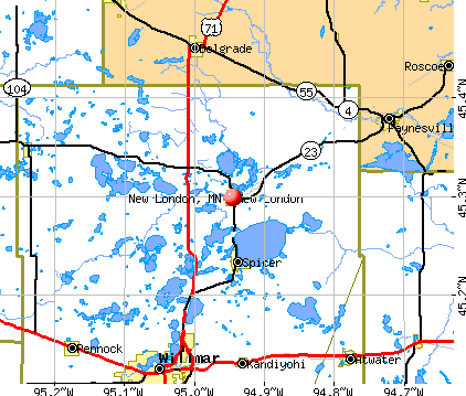 New London, MN map