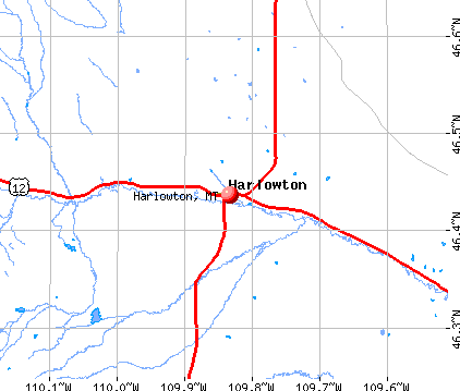 Harlowton, MT map