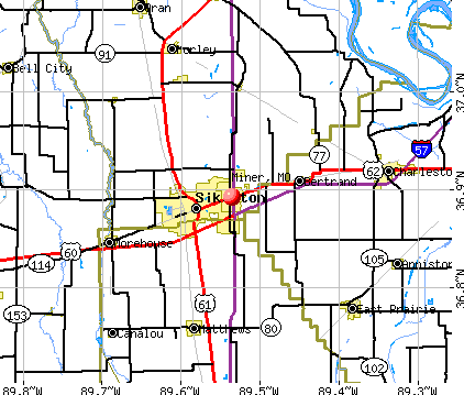 Miner, MO map