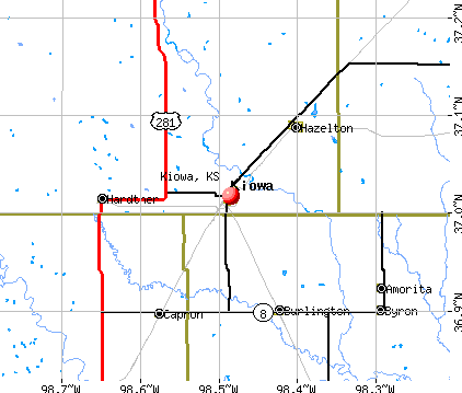 Kiowa, KS map