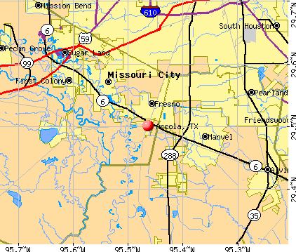 Arcola, TX map