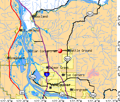 Dollar Corner, WA map