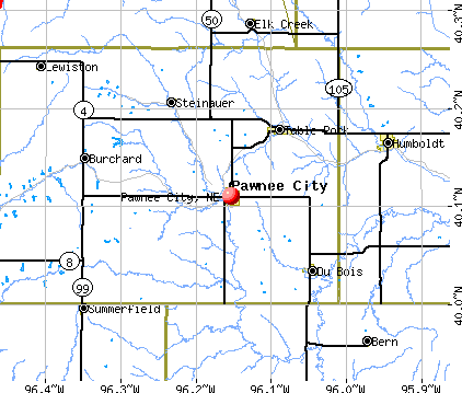 Pawnee City, NE map